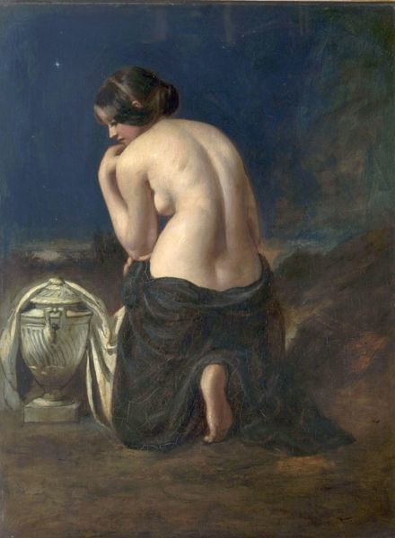 Artist: Etty, William - Title: The Mourner - Date: 1842 - Original Medium and Size: Oil on Canvas 63.5 x 48.3