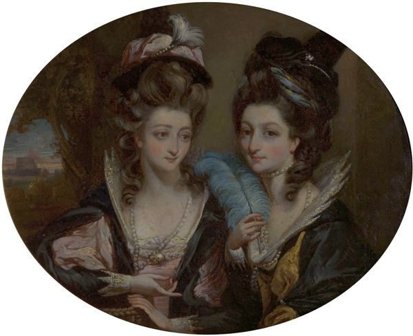 Artist: Gardner, Daniel - Title: Mrs Gwynne and Mrs Bunbury as the Merry Wives of Windsor - Date: c.1779 - Original Medium and Size: Oil on Wood 24.1 x 27.3