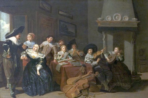 Artist: Codde, Pieter Jacobsz (attributed to) - Title: The Music Party - Date: N/A - Original Medium and Size: Oil on Wood 47 x 69.9