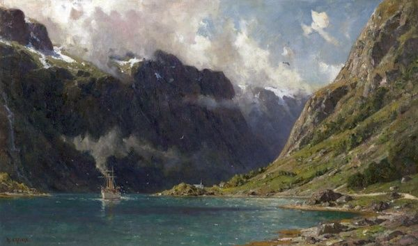 Artist: Enfield, Henry - Title: Naeroyfjord, Norway - Date: 1902 - Original Medium and Size: Oil on Canvas 59.7 x 94