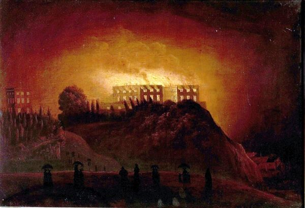 Artist: Dawson, Henry - Title: Nottingham Castle on Fire, 10 October 1831 - Date: N/A - Original Medium and Size: Oil on Canvas 47 x 67.9