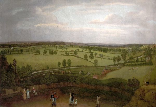 Artist: Bonington, Richard - Title: Nottingham Meadows from the Rock Cliff, where Lenton Road turns into Park Valley - Date: N/A - Original Medium and Size: Oil on Canvas 72.3 X 105.4