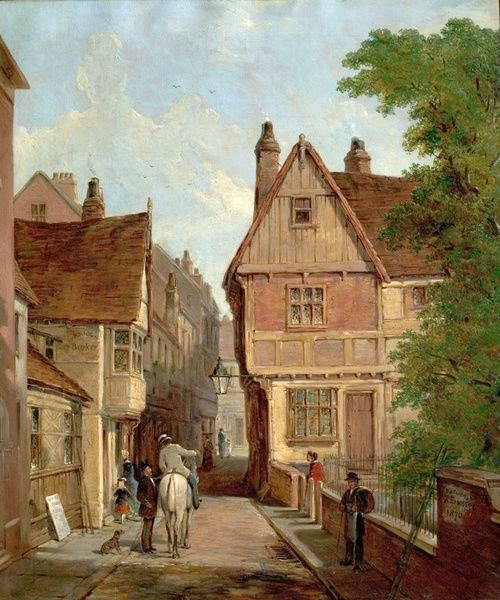 Artist: Bussey, Reuben - Title: Old Houses, St. Peters Gate, Nottingham, 1842 - Date: 1870 - Original Medium and Size: Oil on Canvas 61 x 50.8