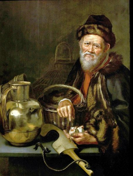 Artist: Odekerken, William van (attributed to) - Title: An Old Man with Broken Eggs - Date: N/A - Original Medium and Size: Oil on Wood 102.9 x 79.7