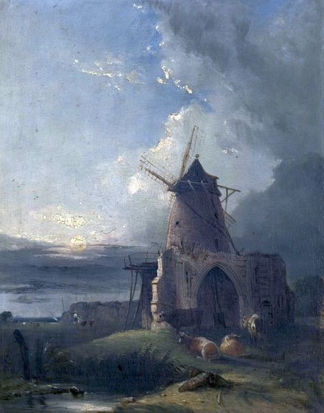 Artist: Colkett, Samuel David - Title: Old Mill at Norwich, Norfolk - Date: N/A - Original Medium and Size: Oil on Wood 49.5 x 39.5