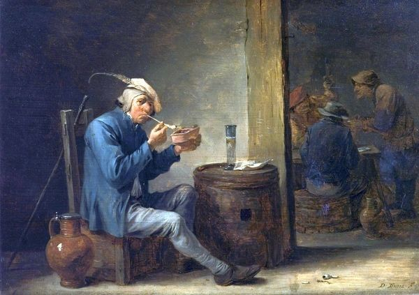 Artist: Teniers, David II - Title: Peasant Smoking in an Interior (Flemish Pastimes, Interior) - Date: c.1650 - Original Medium and Size: Oil on Wood 22.9 x 33.3