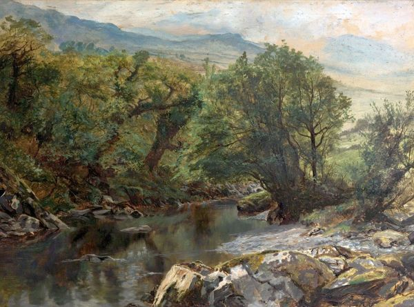 Artist: Hayes, Frederick William - Title: Pool in Colwyn, North Wales - Date: N/A - Original Medium and Size: Oil on Paper 44.5 x 59.7