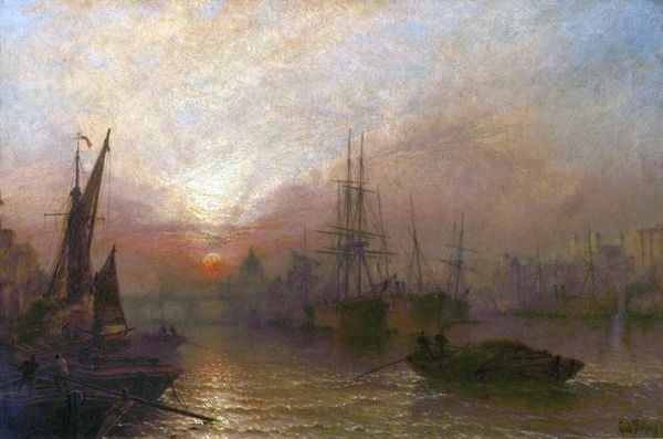 Artist: Moore, Claude Thomas Stanfield - Title: The Pool of the Thames, over London's Silent Highway - Date: 1890 - Original Medium and Size: Oil on Canvas 51.1 x 76.2