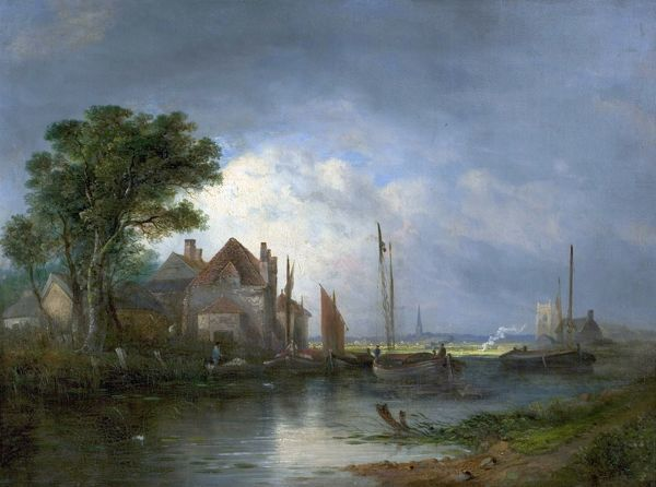 Artist: Crome, William Henry - Title: River Scene with Boats - Date: N/A - Original Medium and Size: Oil on Canvas 45.7 x 61