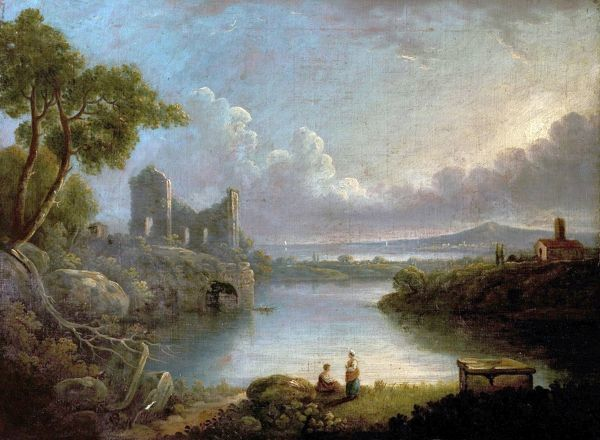 Artist: Wilson, Richard (after) - Title: River Scene with Sea and Classical Ruins - Date: N/A - Original Medium and Size: Oil on Wood 50.8 x 68.6