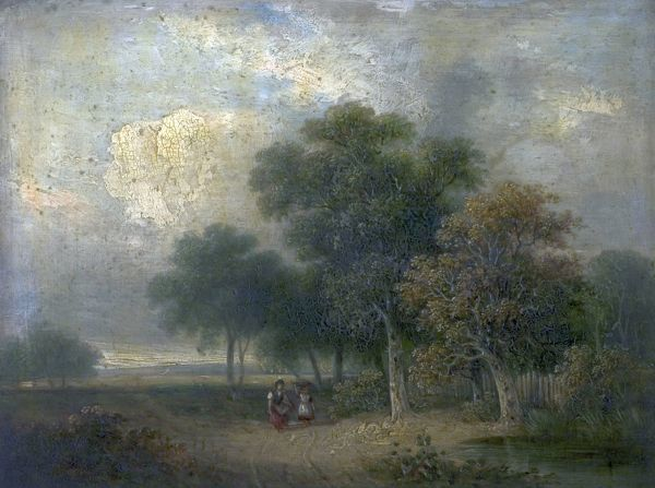 Artist: Colkett, Samuel David - Title: River Scene (Trees and Figures) - Date: N/A - Original Medium and Size: Oil on Wood 31.4 x 41.6