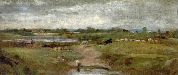 Artist: British (English) School - Title: River and Sheep - Date: N/A - Original Medium and Size: Oil on Canvas 11.4 x 26.7