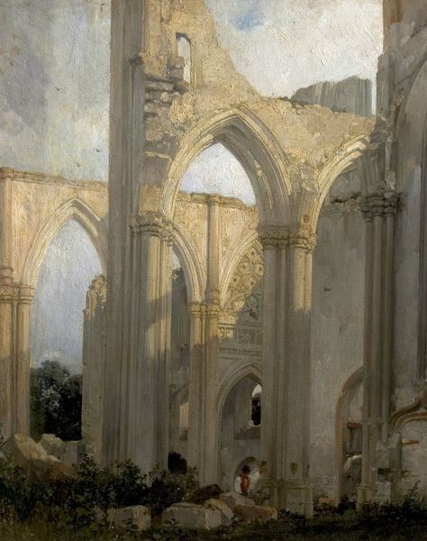 Artist: Bonington, Richard Parkes - Title: Ruins of the Abbey St. Bertain, St. Omer, France (Trancept of the Abbey of St. Bertin, St. Omer, France) - Date: 1824 - Original Medium and Size: Oil on Canvas 59.9 x 48.8