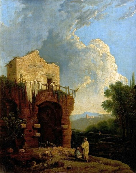 Artist: Wilson, Richard (after) - Title: Ruins of a Villa near Rome (Hadrian's Villa) - Date: N/A - Original Medium and Size: Oil on Canvas 45 x 30