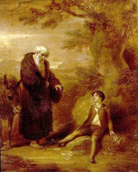 Artist: Smirke, Robert - Title: Scipio and the Hermit - Date: N/A - Original Medium and Size: Oil on Wood 24.8 x 17.8