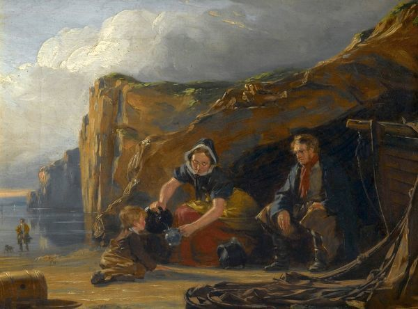 Artist: Good, Thomas Sword - Title: Shore Scene with Figures - Date: N/A - Original Medium and Size: Oil on Canvas 22.9 x 30.5