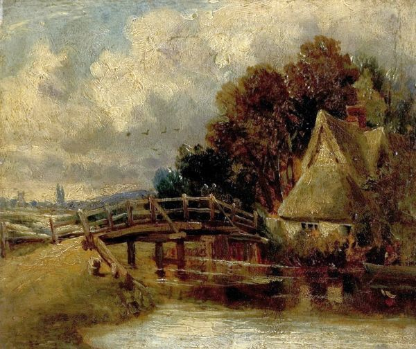 Artist: Constable, John (after) - Title: On the Stour near East Bergholt, Suffolk - Date: N/A - Original Medium and Size: Oil on Canvas 24.1 x 29.2