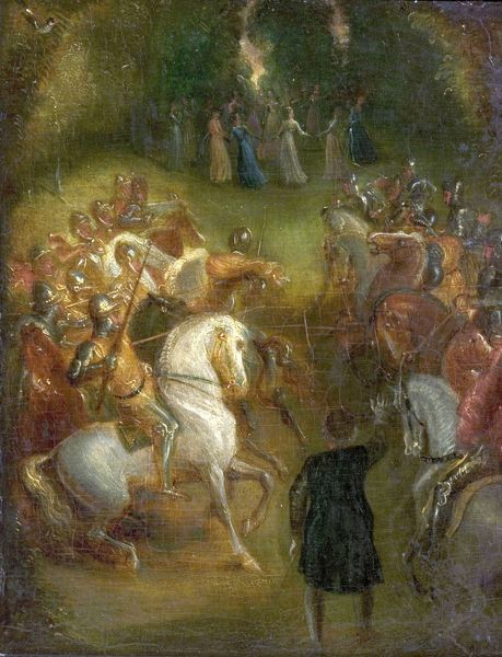 Artist: Stothard, Thomas - Title: The Tournament - Date: N/A - Original Medium and Size: Oil on Wood 25.4 x 21.6