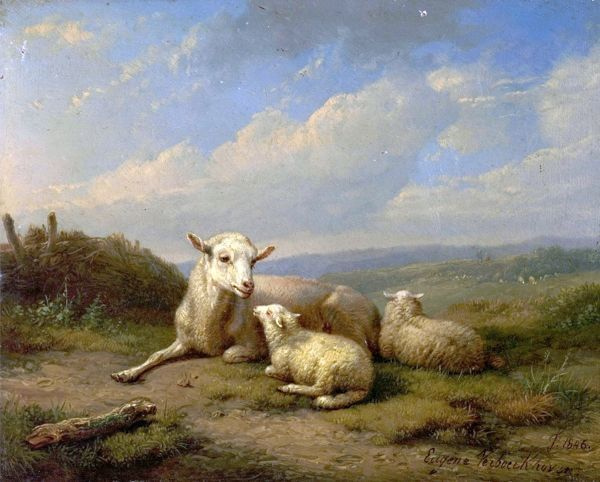 Artist: Verboeckhoven, Eugene Joseph - Title: The Twins - Date: 1846 - Original Medium and Size: Oil on Wood 13.6 x 18.1
