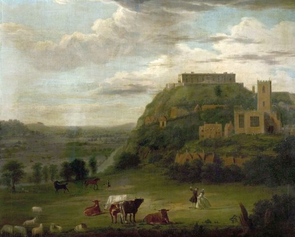 Artist: Sandby, Paul (attributed to) - Title: View of Nottingham Castle with St Nicholas' Church and Houses - Date: N/A - Original Medium and Size: Oil on Canvas 102.9 x 125.7