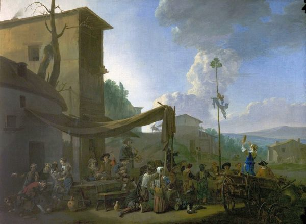 Artist: Lingelbach, Johannes - Title: A Village Festival, Peasants Merrymaking Outside an Inn - Date: early 1650's - Original Medium and Size: Oil on Canvas 87.6 x 120.6