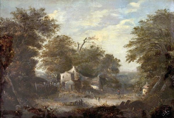 Artist: British (Norwich) School - Title: Woodland Scene with Cottage - Date: N/A - Original Medium and Size: Oil on Wood 40.6 x 59.7