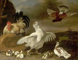Cock and Hen with Chickens and Pigeons - Johannes Spruyt