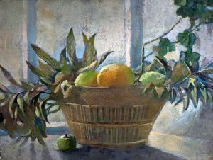 Fruit and Leaves in a Basket - George Sheringham