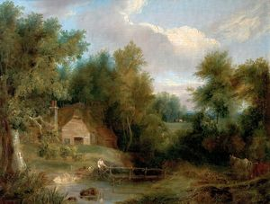 Landscape, Cottage and a Stream with a Figure and a House
