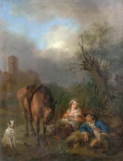 Landscape with Figures, a Horse and a Dog