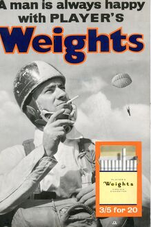 A man is always happy with Player's Weights: Parachutist, 1961