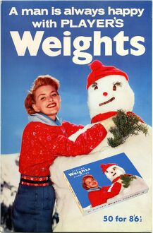 A man is always happy with Player's Weights: Snowman, 1962