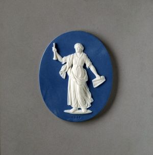 medallion 'Clio', made by Wedgwood and Bentley * Josiah Wedgwood (and Sons) Ltd