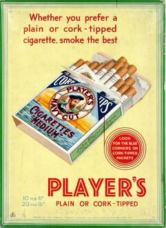 Navy Cut Medium Cork Tip Cigarettes, 1931