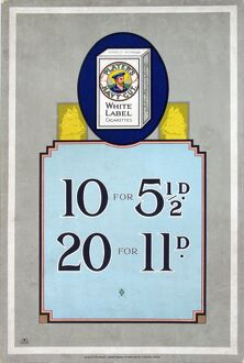 Navy Cut White Label cigarettes, 1925