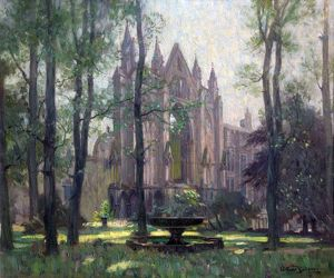 Newstead Abbey, the Monk's Wood, Nottinghamshire (Newstead Abbey from the North West)- Arthur Spooner