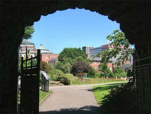 Nottingham Castle grounds in summer