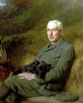 Portrait of an Unidentified Gentleman with a Dog and Golf Clubs