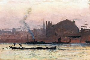 The Thames near Charing Cross, London - William Lionel Wyllie